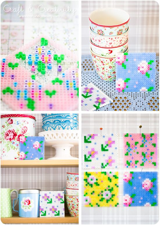Cross Stitch Pegboards | Craft  Creativity No matter what you call them - hama beads, ironing beads or perler beads, these boards are incredibly fun. Not just for kids, you can make your patterns and create your own art. I adore the bottom patterns - very Cath Kidston - and I think theyd make great coasters. Look for the beads in the kids section of your craft store, and make sure to pick up a pegboard too!