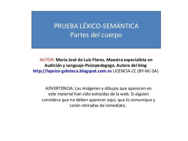 Prueba léxico semántica partes del cuerpo by MariaJosé Luis Flores via slideshare