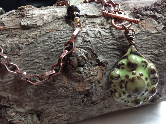 Green and copper fired ceramic pendent necklace on Etsy, $43.00