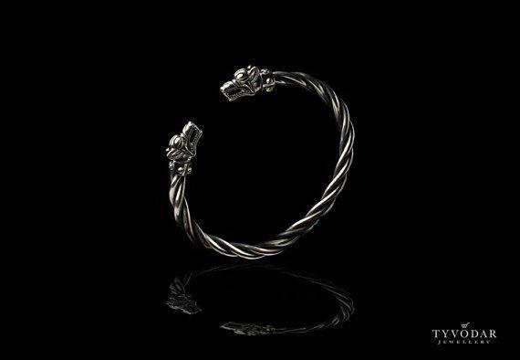 Fenrir  Viking bracelet with wolf heads   silver skull by TYVODAR