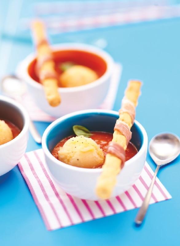Gaspacho de #tomates et boule de sorbet melon #Picard
