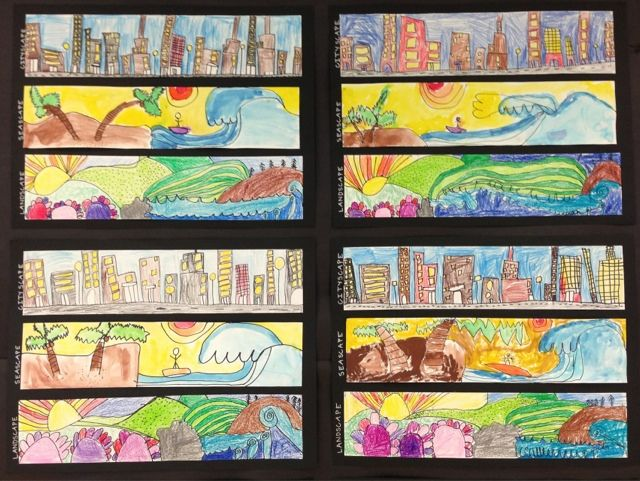 Cityscapes. Seascapes and Landscapes  Would be a nice theme for an afterschool class.