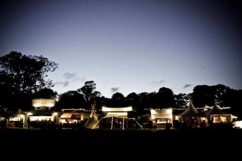 Blissfields Festival by night, Hampshire, UK