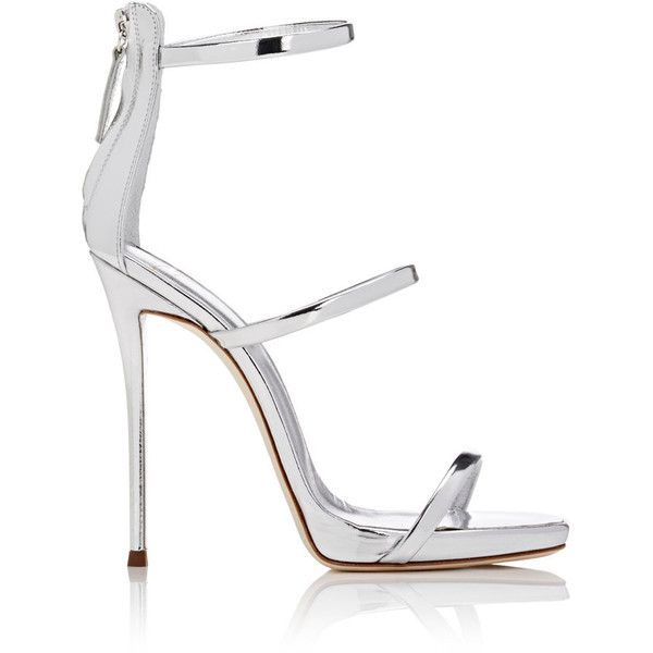 Giuseppe Zanotti Women's Coline Leather Triple-Strap Sandals (€790) ❤ liked on Polyvore featuring shoes, sandals, heels, silver, platform sandals, heeled sandals, strappy high heel sandals, leather platform sandals and strappy leather sandals