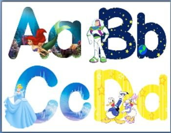 New Updates Disney Alphabet with uppercase and lowercase letters. Includes 26 Posters and 26 small letter cards :) Enjoy!