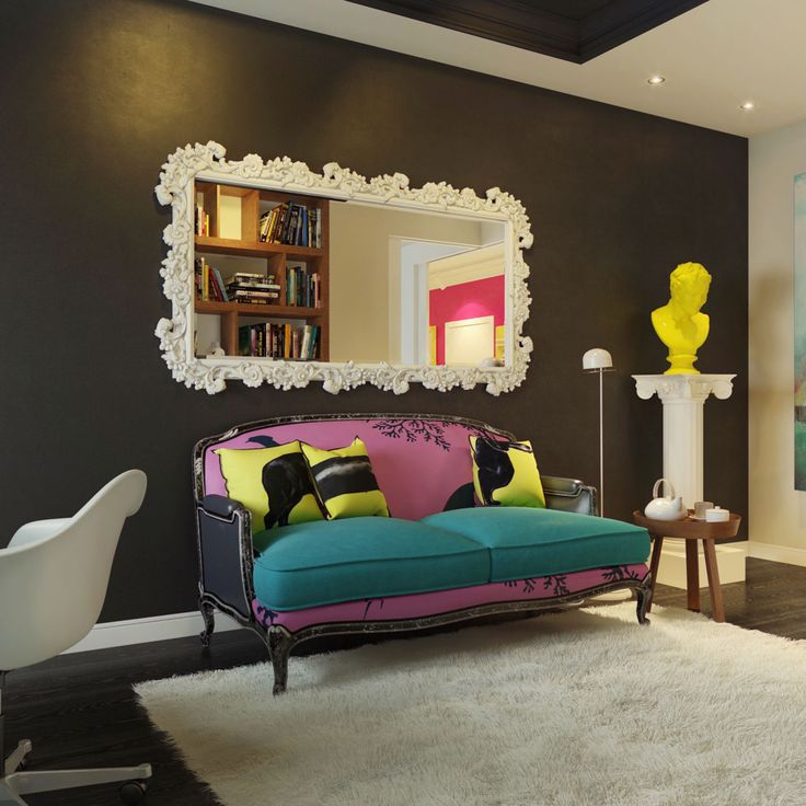 This Modern Pop Art Interior Was Visualized By Dmitriy Schuka The Dcor Makes Use Of A Wide Gamma Bright Colors And Inclusion Work