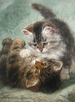 Henriëtte Ronner-Knip (Holanda/Alemania, 1821-1909). Play Fighting