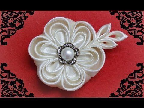DIY kanzashi flower,wedding kanzashi flower accessoire tutorial, flores de cinta - YouTube