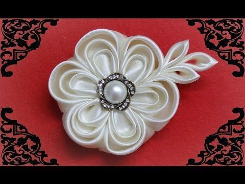 DIY kanzashi flower,wedding kanzashi flower accessoire tutorial, flores de cinta, My Crafts and DIY