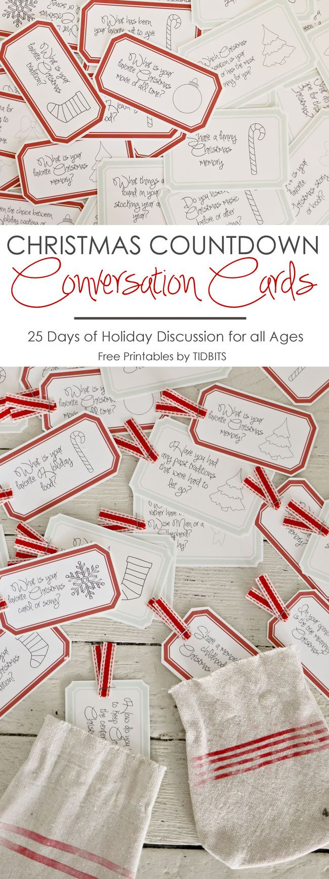 Christmas Countdown Conversation Cards | Free Printable - Tidbits