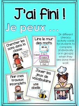 French Literacy Task cards- J'ai fini