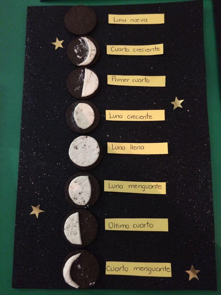 Fases de la luna, tarea, tercero de primaria, galletas oreo, foami escarchado y estrellas