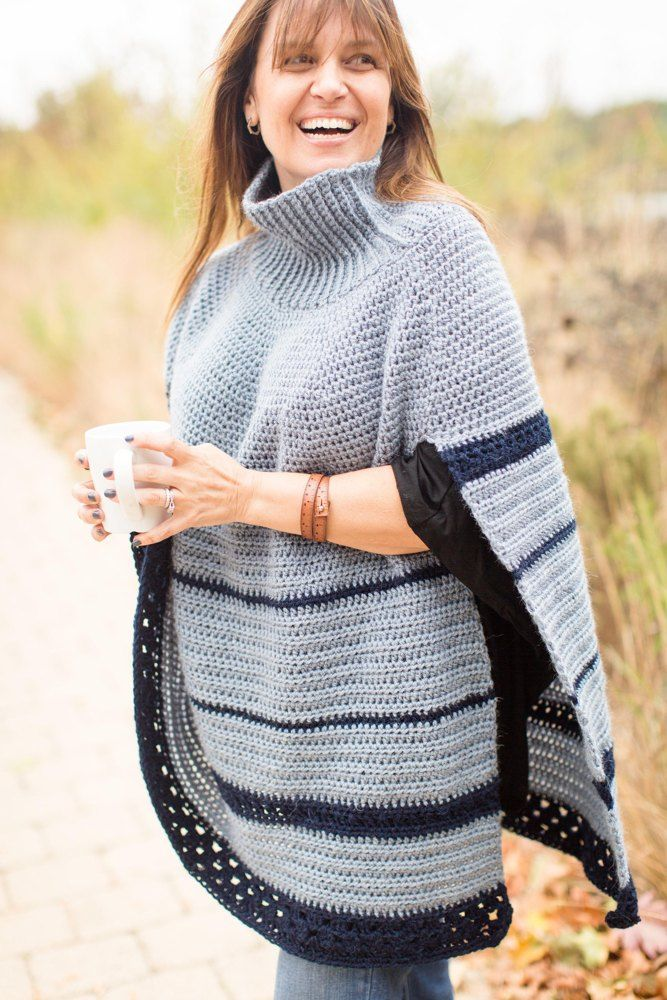 A great new twist on an old classic - the Poncho. The Montana Poncho features a slit side to make it functional and keep your arms accessible. That was something I always wanted to remain true to my designs: function AND fashion. Perfect for a cup of coffee on the porch on a brisk morning or carrying my bag to market.The turtleneck has textured crochet ribbing to give you all the cozy feels. It works up easy and is perfect for markets and errands and I even wear it around the house as a sort…