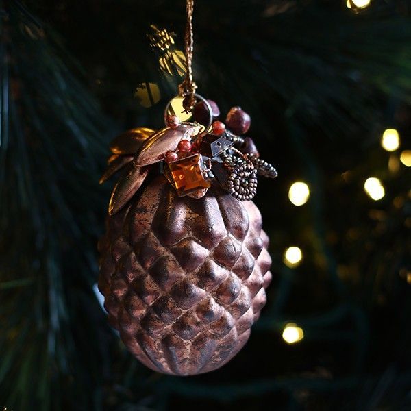 Copper Glass Pinecone Jewel Bauble in Mixed Metals Christmas