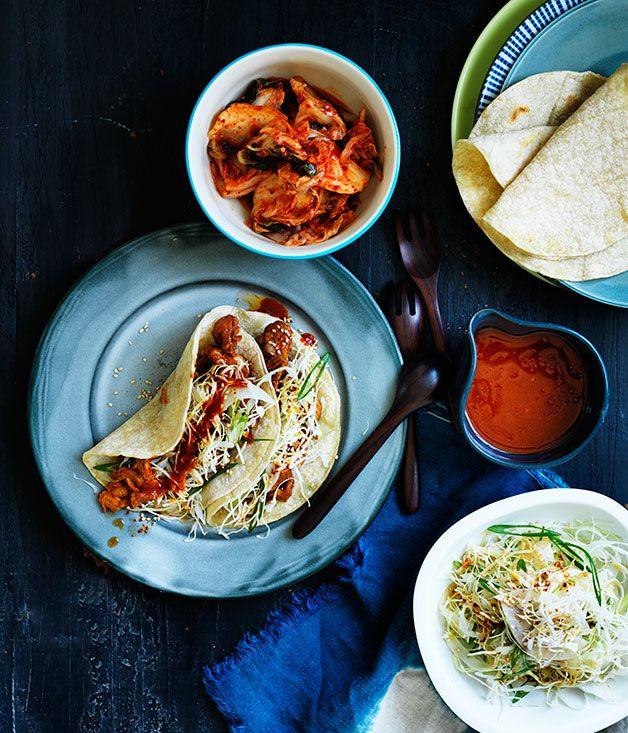 Australian Gourmet Traveller recipe for bulgogi pork tacos with nashi slaw.