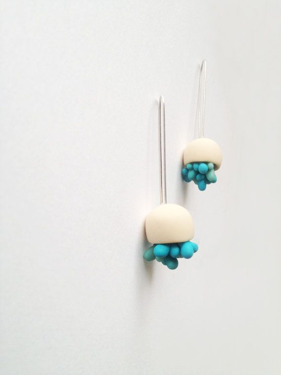minimal abstracted organic cute earrings ''White pods with teal succulents''