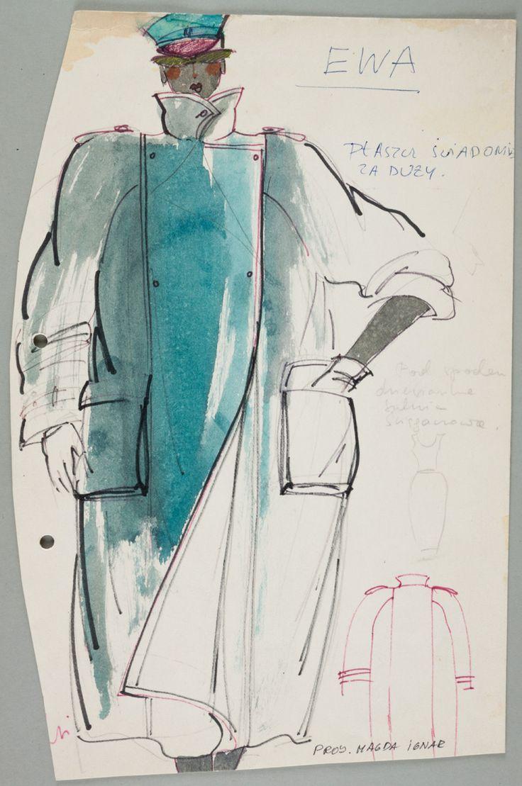 """Magdalena Ignar, Projekt płaszcza """"świadomie za dużego"""", lata 80., wł. MNK  #PRL #Moda Polska #Polish Fashion #Magdalena Ignar"""