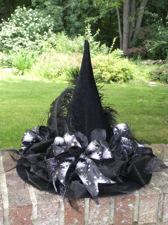 Black and Silver Witch Hat / Halloween Hat / Black  Velvet Witch Hat / by English Rose Designs Oh via Etsy