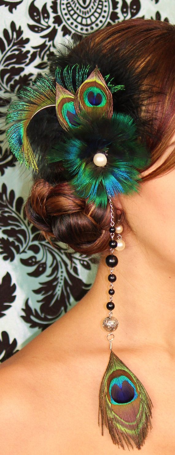 Peacocks inspired Hair Piece  Damask wall Print.  http://www.iwedplanner.com/virtual-make-over/wedding-hairstyle-makeover/