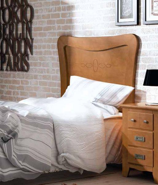 Cabecero juvenil nogal para camas de 90 y 105 cm de estilo for Cama juvenil 105 cm
