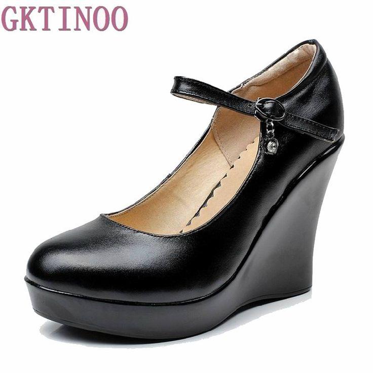 Women's genuine leather platform shoes 2017 new fashion high heels wedges shoes women pumps #Affiliate