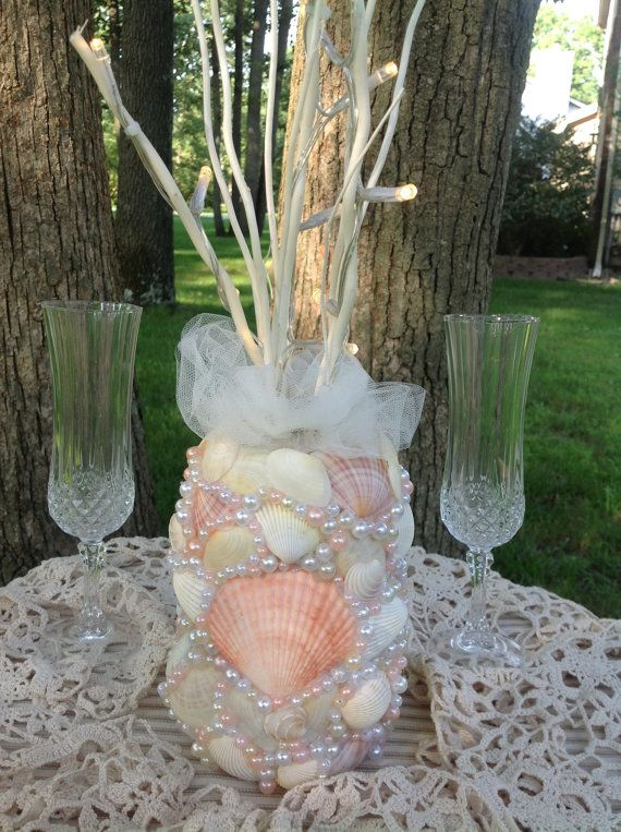 Tropical Beachy Sea Shell Wedding Centerpiece With Pearl Accents And LED Battery Operated Branches