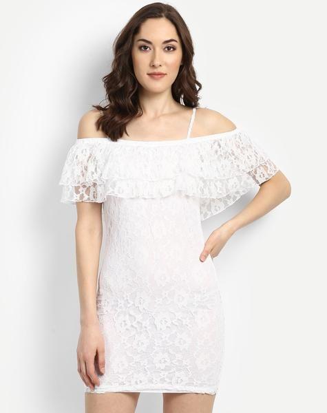 8)Online shopping for #WhiteCold ShoulderRufflesLaceBodyconDress available at ladyindia.com http://bit.ly/2vjYod0