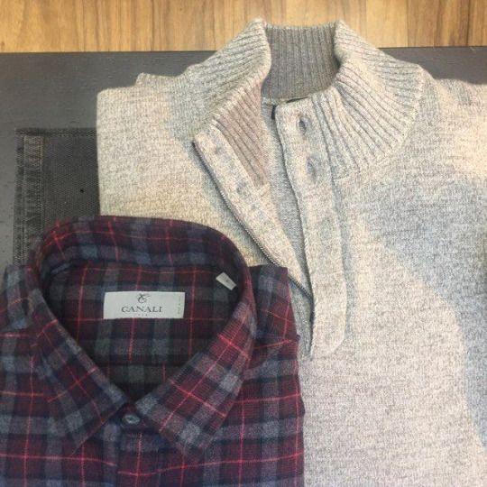 Canali burgundy checked shirt: http://www.incrocio.gr/en/shirts/canali-doppio-ritorto-shirt-3.html  Corneliani beige half-zip knitwear: http://www.incrocio.gr/en/knitwear/corneliani-cashmere-sweater.html  #canali #corneliani