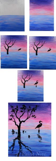 Crane Meditation Process Colos: Blue, Red, Yellow, White, Black Brushes: Big Flat, Medium and small round