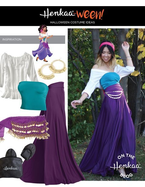 Try this easy and affordable Esmeralda costume from Disney's Hunchback of Notre Dame.                                                                                                                                                                                 More