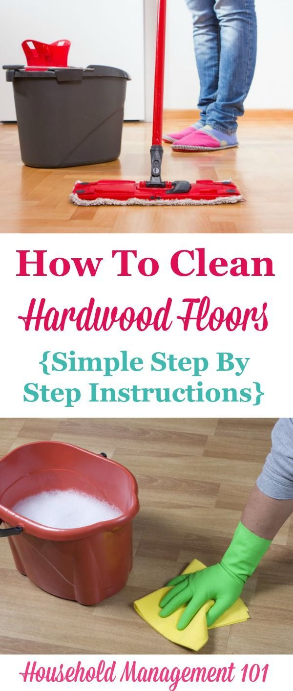 Simple step by step instructions for how to clean hardwood floors so they get clean, but aren't damaged during the process on Household Management 101