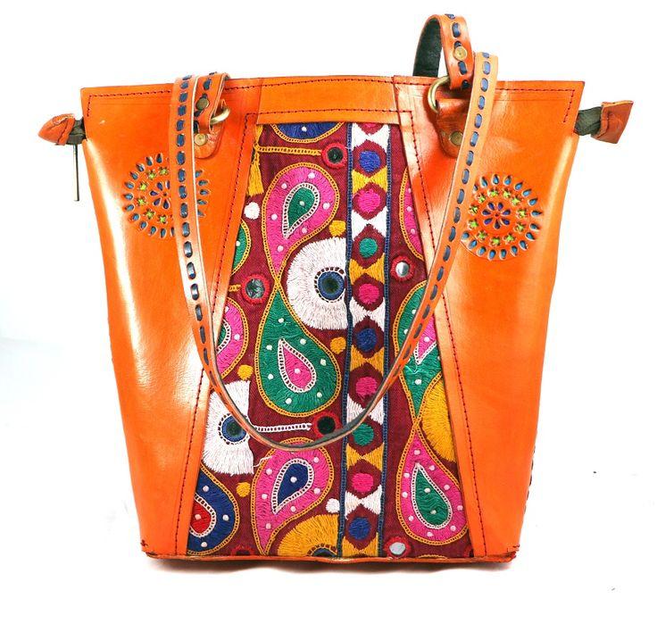 Leather Embroidery Shopping Bag-Orange www.styleincraft.com #leatherBag #HandmadeBag #EmbroideryBag #ShoppingBag