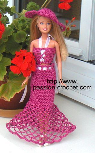 Robe au crochet pour poupée Barbie: Hook, Crochet Dresses, Crochet Dolls, Dolls Clothing, Crochet Barbie Clothing, Barbie Crochet, Barbie Dolls, Barbie Stars, Crochet