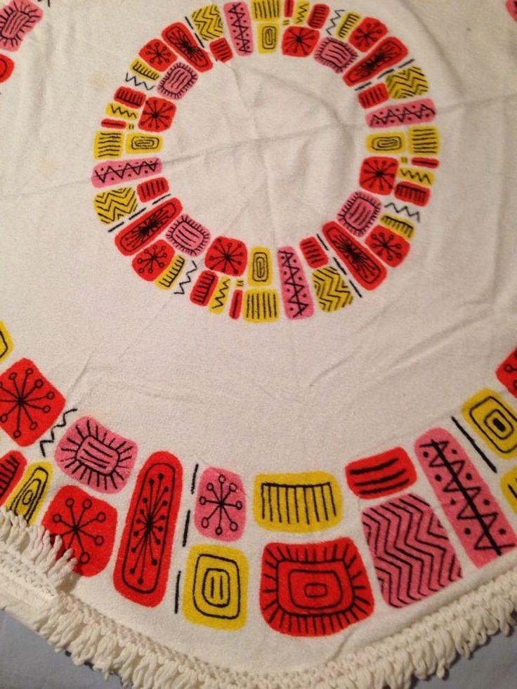 Amazing Vintage Mid Century Round Tablecloth Atomic GUC | EBay