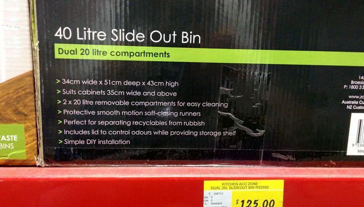 Kitchen slide out bin