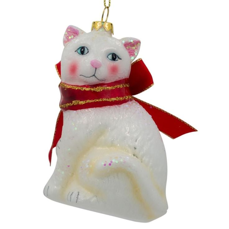 """4.25"""" White Persian Cat with Bow Glass Christmas Ornament  #bestpysanky"""