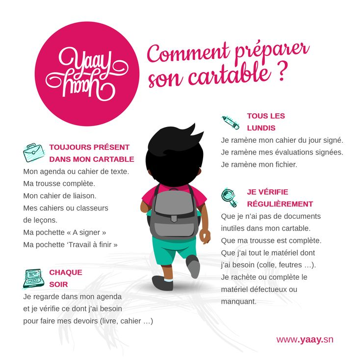 Comment préparer son cartable, mémo pour les petits...et les parents!