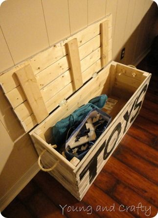 Wooden Toy Box- I'd want it stained darker