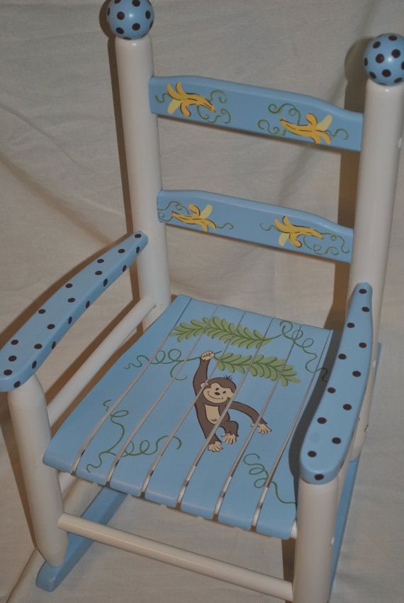 Kids Rocking Chair Boys Monkey With Bananas   Baby Shower Gift, Nursery  Furniture, Painted Child Chair, Baby Gift