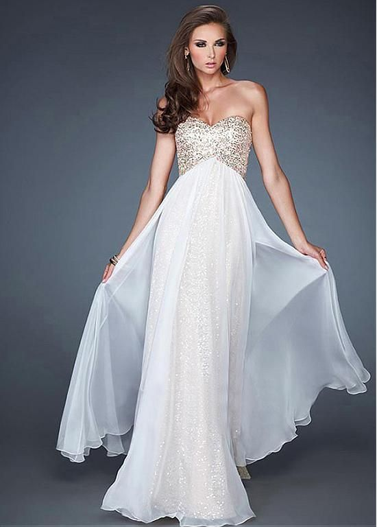Chic Sequin Lace & Chiffon Sweetheart Neckline Floor-length A-line Prom Dress