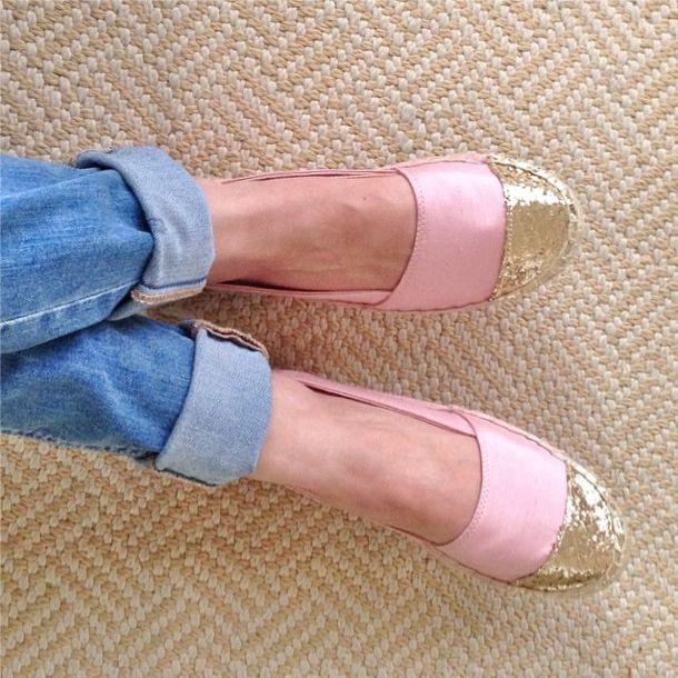 Blush + gold glitter espadrilles