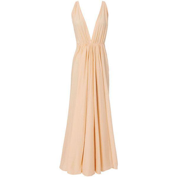 Kalita Clemence Deep-V Maxi Dress (€725) ❤ liked on Polyvore featuring dresses, pink, beige dress, beige maxi dress, pink dress, pink silk dress and maxi dresses