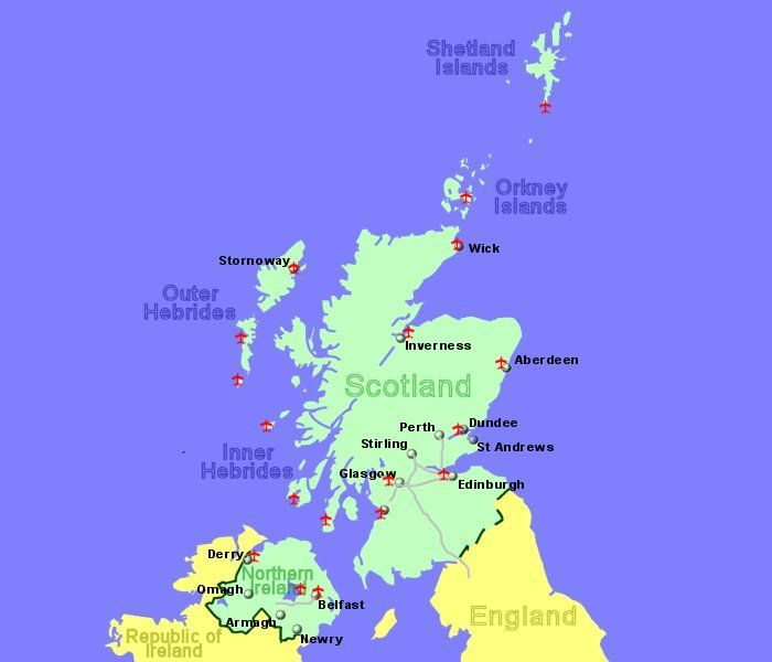 Large Map of Scotland and Northern Ireland showing all ...