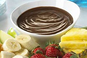Chocolate-Peanut Butter Fondue made with pudding mix
