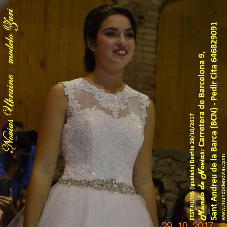 """Atelier """"Mundo de Novias"""" – Modelo Zuri – Este Vestido Princesa de """"Atelier Novias Ukraine"""" es sencillo y elegante a la vez de encaje con brillo, y la falda se puede pedir en tul caído con ó sin volumen, todo a elección de la novia, y con un cinturón de pedrería, ideal para lucir como una Verdadera Princesa en tu día. Nuestro Atelier está ubicada en Carretera de Barcelona 9, Sant Andreu de la Barca. Cita Previa al 646 829091. Facebook: Mundo de Novias Sant Andreu de la Barca"""