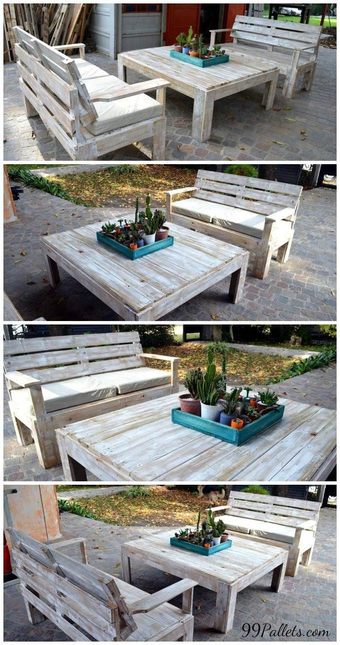 Diy outdoor patio furniture from pallets 99 pallets - Wooden Pallet Furniture Set For Patio 99 Pallets