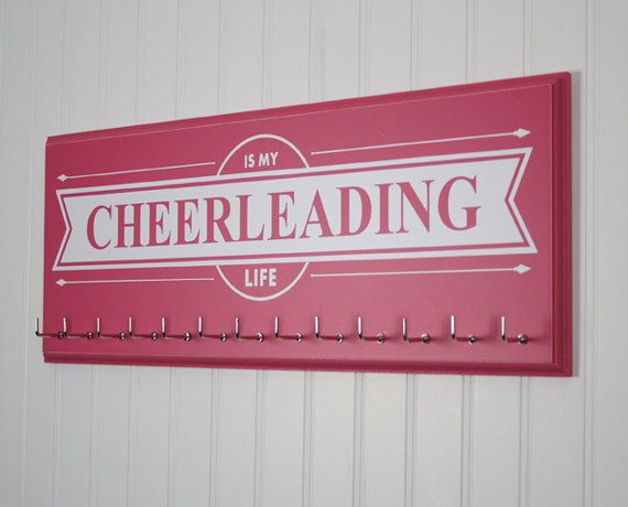 Hey, I found this really awesome Etsy listing at https://www.etsy.com/listing/224938887/cheerleading-medal-holder-cheerleading