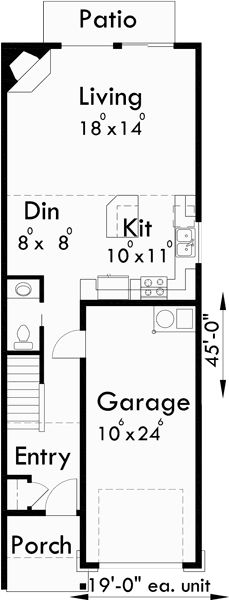 Main Floor Plan for D-542 Duplex house plans, narrow duplex house plans, 2 story…
