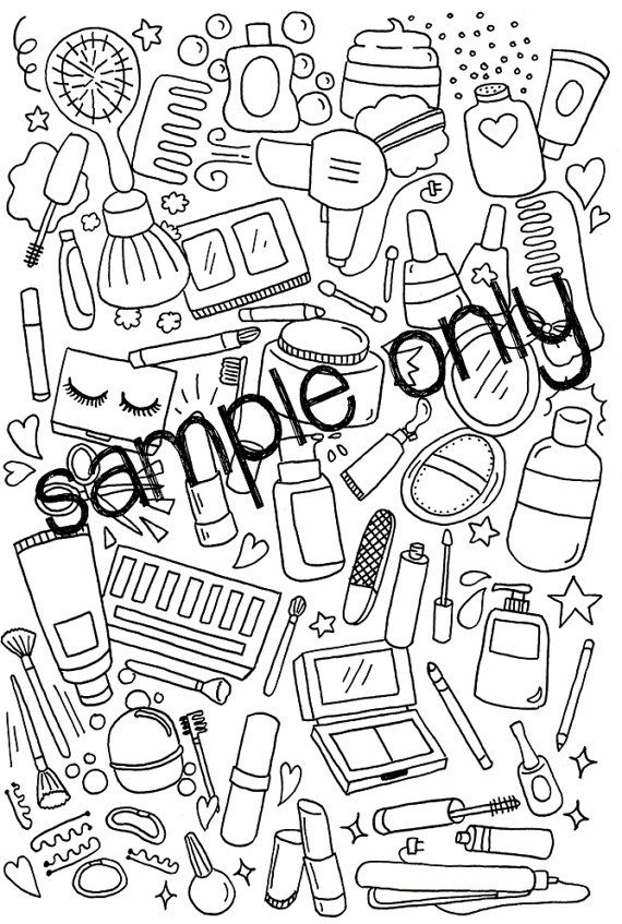 Adult Printable Coloring Page Doodles Wall Art Make by