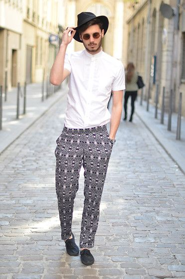Printed Trousers White Shirt  Black Hat